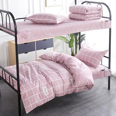 2020全棉13372学生三件套 宿舍上下铺单人床上用品套件 通用款1.0床 花梦心恋咖