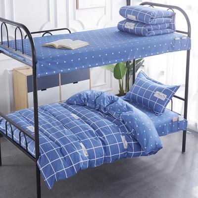 2020全棉13372学生三件套 宿舍上下铺单人床上用品套件 通用款1.0床 花梦心恋-蓝