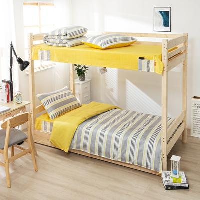 2020全棉13372学生三件套 宿舍上下铺单人床上用品套件 通用款1.0床 简兮-米灰