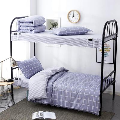 2020全棉13372学生三件套 宿舍上下铺单人床上用品套件 通用款1.0床 洛卡恋曲-灰