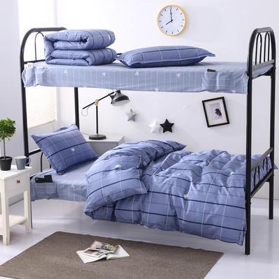 2020全棉13372学生三件套 宿舍上下铺单人床上用品套件 通用款1.0床 魅蓝