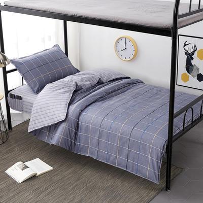 2020全棉13372学生三件套 宿舍上下铺单人床上用品套件 通用款1.0床 时尚悦格-灰