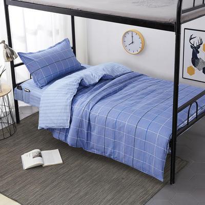 2020全棉13372学生三件套 宿舍上下铺单人床上用品套件 通用款1.0床 时尚悦格-蓝
