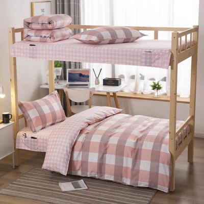 2020全棉13372学生三件套 宿舍上下铺单人床上用品套件 通用款1.0床 温馨格子
