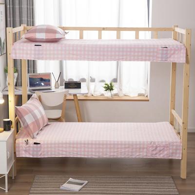 2020全棉13372学生上下铺床单 单人宿舍寝室单被单 128*200cm 温馨格子