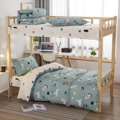 2020全棉生态磨毛三件套 纯棉学生宿舍上下铺床单床上用品套件 通用款1.0床 百依