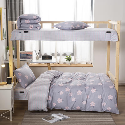 2020全棉生态磨毛三件套 纯棉学生宿舍上下铺床单床上用品套件 通用款1.0床 胡卡罗