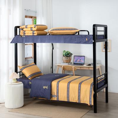 2020全棉生态磨毛三件套 纯棉学生宿舍上下铺床单床上用品套件 通用款1.0床 迷森-黄