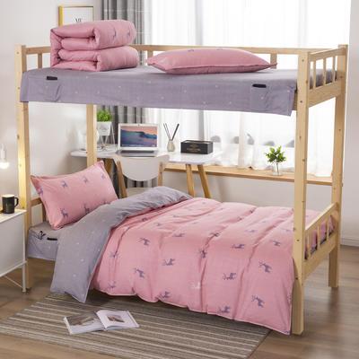 2020全棉生态磨毛三件套 纯棉学生宿舍上下铺床单床上用品套件 通用款1.0床 麋鹿