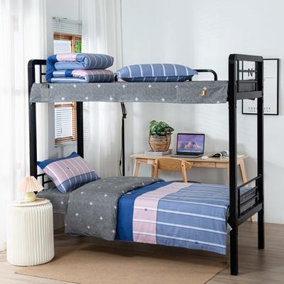 2020全棉生态磨毛三件套 纯棉学生宿舍上下铺床单床上用品套件 通用款1.0床 时光之旅-兰