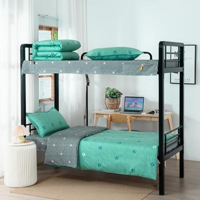 2020全棉生态磨毛三件套 纯棉学生宿舍上下铺床单床上用品套件 通用款1.0床 小脚丫-绿