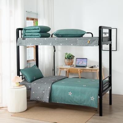 2020全棉生态磨毛三件套 纯棉学生宿舍上下铺床单床上用品套件 通用款1.0床 星晴