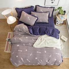 2018秋冬新品 金绣美居拉舍尔绒四件套 1.5m(5英尺)床 甜蜜时光-紫