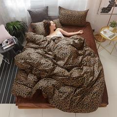 2018秋冬新品金绣美居拉舍尔棉加绒休闲保暖四件套 1.5m(5英尺)床 豹纹时代-咖