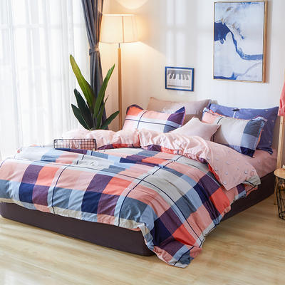 2018 新款化纤90克柔肤棉芦荟棉四件套新增花型 1.0m(3.3英尺)床三件套 梦洛(红)