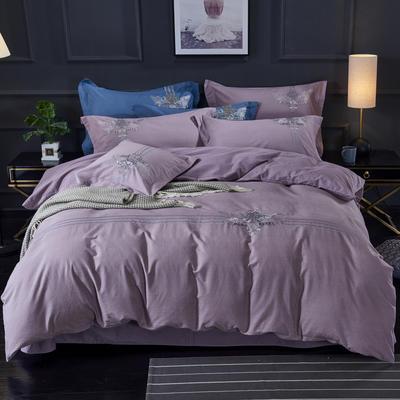 19年精品绣花纯棉磨毛 1.8m(6英尺)床 摩洛哥-紫薯