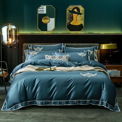 北欧风情60支长绒棉数码边四件套 1.5m(5英尺)床 流蓝