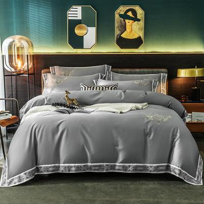 北欧风情60支长绒棉数码边四件套 1.5m(5英尺)床 雅典灰