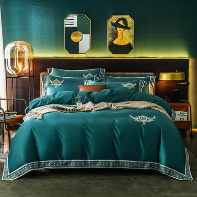 北欧风情60支长绒棉数码边四件套 1.5m(5英尺)床 英伦绿