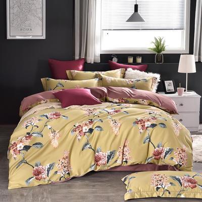60支印花长绒棉 全棉长绒棉四件套 1.5m(5英尺)床 浪漫花球