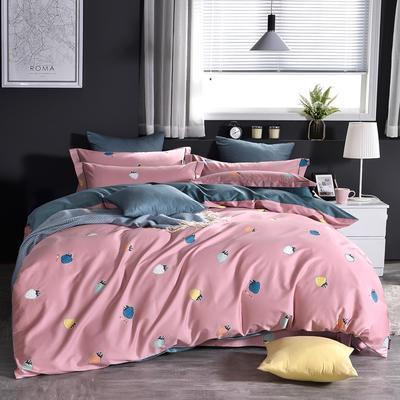 60支印花长绒棉 全棉长绒棉四件套 1.5m(5英尺)床 炫彩草莓粉