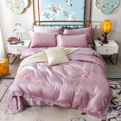 100支经典绣花长绒棉四件套 1.5m(5英尺)床 浅紫