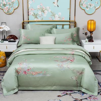 100支经典绣花长绒棉四件套 1.5m(5英尺)床 水绿