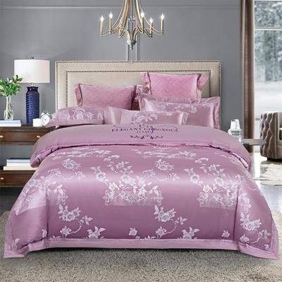 貢緞四件套全棉貢緞提花四件套提花四件套全棉刺繡四件套純棉四件套 1.5米-1.8米床單款 卡曼時尚-粉紫