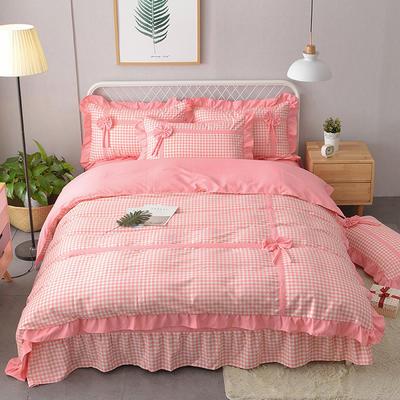 新款韩版公主风针织棉四套件 1.2m床三件套 蝶恋-粉色