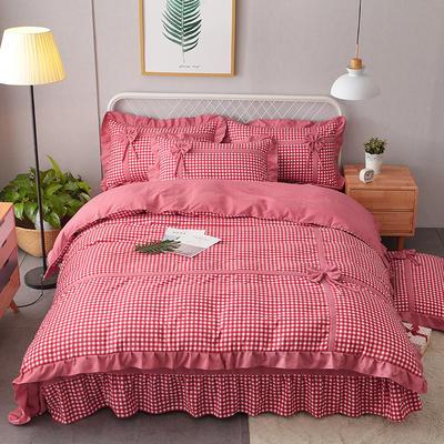 新款韩版公主风针织棉四套件 1.2m床三件套 蝶恋-红色