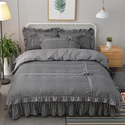 新款韩版公主风针织棉四套件 1.2m床三件套 蝶恋-灰色