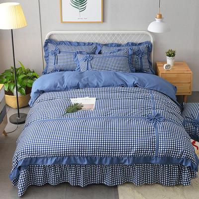 新款韩版公主风针织棉四套件 1.2m床三件套 蝶恋-蓝色