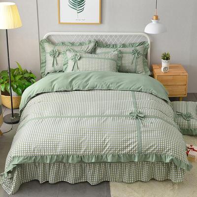 新款韩版公主风针织棉四套件 1.2m床三件套 蝶恋-绿色