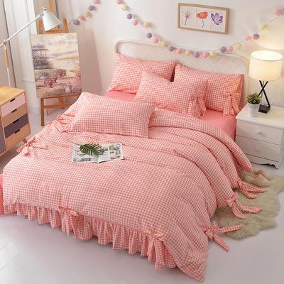 新款韩版公主风针织棉四套件 1.2m床三件套 十全十美-粉小格