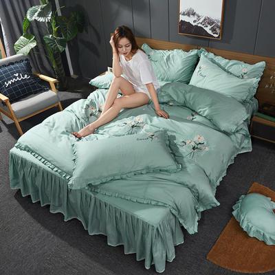 2019新款-全棉13372刺绣款四件套 标准1.5-1.8m床 床单款 小邹菊-绿
