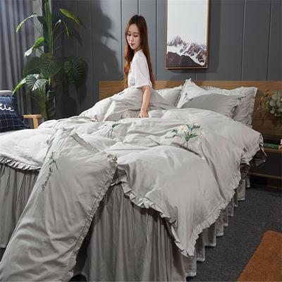 2019新款-全棉13372刺绣款四件套 标准1.5-1.8m床 床单款 小邹菊-浅灰