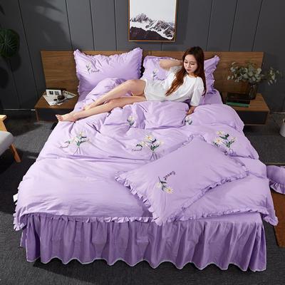 2019新款-全棉13372刺绣款四件套 标准1.5-1.8m床 床单款 小邹菊-紫