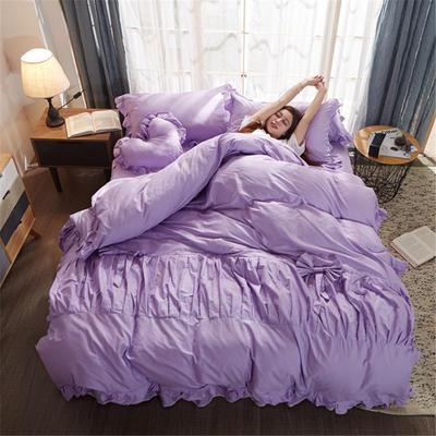 2019新款-全棉13372公主风四件套 标准1.5-1.8m床 床单款 公主风-紫