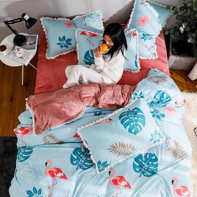 2019新款针织棉法莱绒四件套 1.8m(床单款四件套) 爱情之鸟