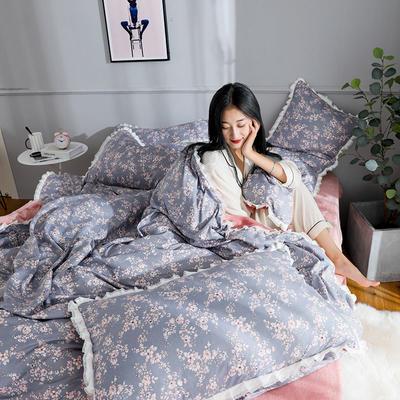 2019新款针织棉法莱绒四件套 1.8m(床单款四件套) 花月照影