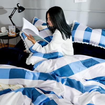 2019新款针织棉法莱绒四件套 1.8m(床单款四件套) 日光倾城