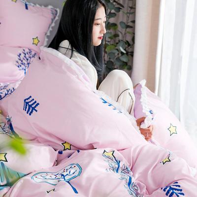 2019新款针织棉法莱绒四件套 1.8m(床单款四件套) 星月童话