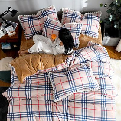 2019新款针织棉法莱绒四件套 1.8m(床单款四件套) 英伦风情