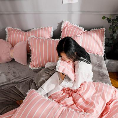 2019新款针织棉法莱绒四件套 1.8m(床单款四件套) 自由时光