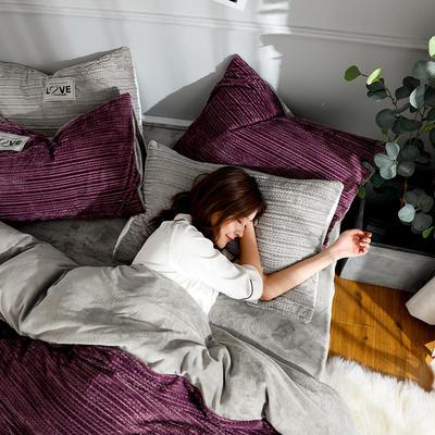 2019新款简易针织纹宝宝绒牛奶绒法莱绒水晶绒四件套 1.8m(床笠款四件套) 魅紫
