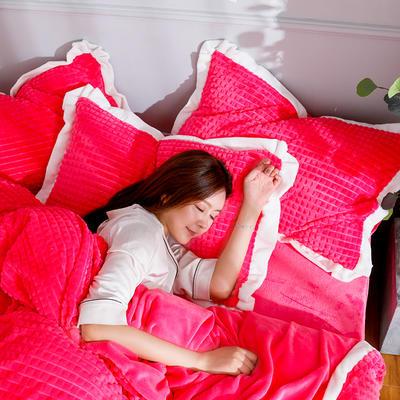 2019新款宽边剪花格宝宝绒牛奶绒法莱绒水晶绒四件套 1.8m(床笠款四件套) 玫红