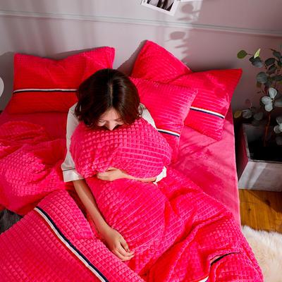 2019新款三色剪花格宝宝绒牛奶绒法莱绒水晶绒四件套 1.8m(床笠款四件套) 玫红