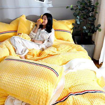 2019新款三色剪花格宝宝绒牛奶绒法莱绒水晶绒四件套 1.8m(床笠款四件套) 嫩黄