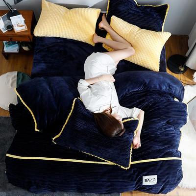 2019新款针织纹工艺剪花宝宝绒牛奶绒法莱绒水晶绒四件套 1.8m(床笠款四件套) 宝蓝
