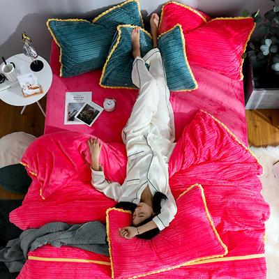 2019新款针织纹工艺剪花宝宝绒牛奶绒法莱绒水晶绒四件套 1.8m(床笠款四件套) 玫红